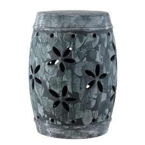 Belna Garden Stool - Antiqued Grey -  Safavieh