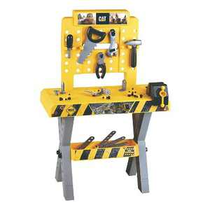 Theo Klein Portable Caterpillar Toy Workbench Table, Hand Tool, and Accessory Set for Kids Ages 3 Years and Up, 39 Pieces