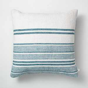 """18"""" x 18"""" Variegated Stripes Indoor/Outdoor Throw Pillow Blue/Cream - Hearth & Hand™ with Magnolia"""