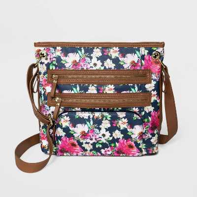 Bueno Floral Print Zip Closure Shoulder Bag - Navy