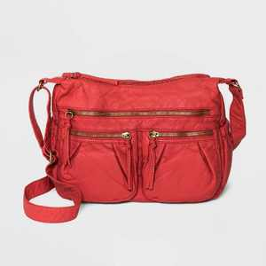 Bueno Zip Closure Crossbody Bag - Red