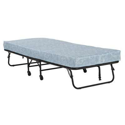 """Twin 4"""" Mattress with Folding Metal Guest Bed Black - Room & Joy"""