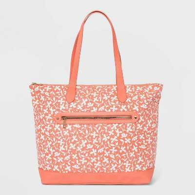 Floral Print Studded Zip Closure Tote Handbag - A New Day™