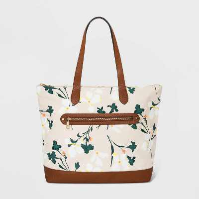 Floral Print Studded Zip Closure Tote Handbag - A New Day™