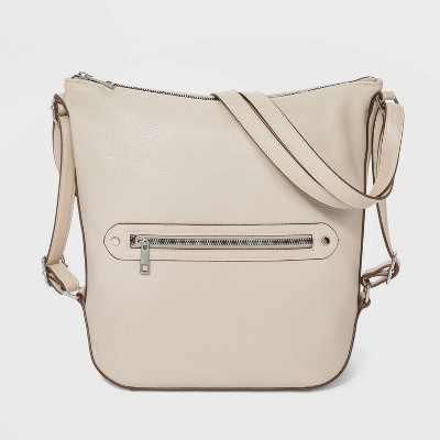 Zip Closure Studded Convertible Hobo Handbag - A New Day™ Beige