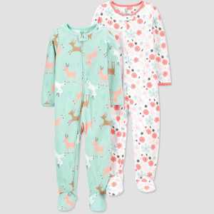 Toddler Girls' Reindeer Footed Pajama - Just One You made by carter's Green