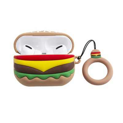 Insten Cute Case Compatible with AirPods Pro - Hamburger Cartoon Silicone Cover with Ring Strap