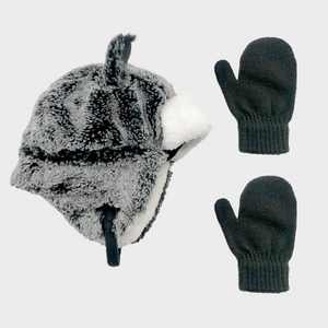 Toddler Boys' Faux Fur Trapper and Basic Magic Mittens Set - Cat & Jack Gray