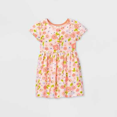 Toddler Girls' Floral Button-Front Short Sleeve Dress - Cat & Jack Pink