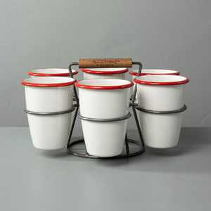 7pc 17oz Drink Caddy Set Red/Cream - Hearth & Hand™ with Magnolia