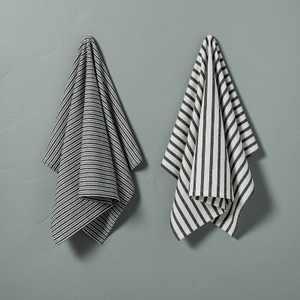 2pc Multistripe Kitchen Towel Set Black/Sour Cream - Hearth & Hand™ with Magnolia