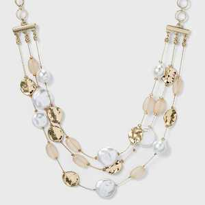 3 Row Pearl Bead Necklace - A New Day™ Pearl