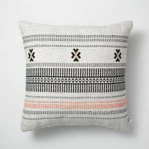 "18"" x 18"" Decorative Ticking Stripe Indoor/Outdoor Throw Pillow Black/Orange - Hearth & Hand™ with Magnolia"