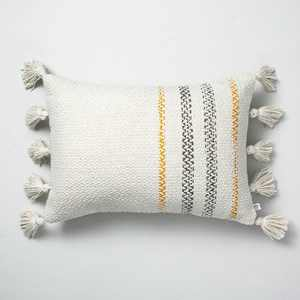 """14"""" x 20"""" Woven Edge Stripes Indoor/Outdoor Throw Pillow Yellow/Gray - Hearth & Hand™ with Magnolia"""