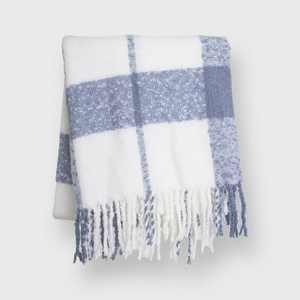 """50""""x60"""" Plaid Mohair Throw Blanket - Evergrace"""