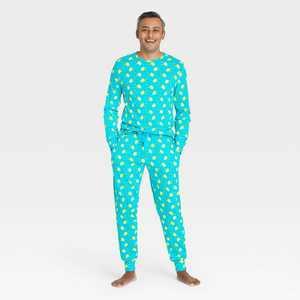 Men's Lemon Print 100% Cotton Matching Family Pajama Set - Blue