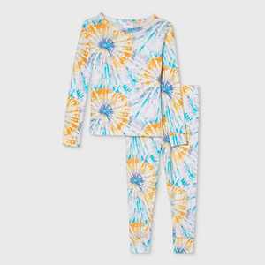 Toddler Tie-Dye Print 100% Cotton Tight Fit Matching Family Pajama Set - Teal