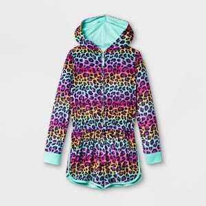 Girls' Rainbow Leopard Print Pajama Romper - Cat & Jack Pink