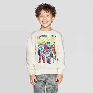 Toddler Boys' Marvel Crew Fleece Sweatshirt - Cream