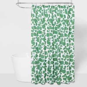 Microfiber Shower Curtain Green/White - Room Essentials™