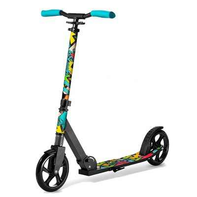 LaScoota Premium Adjustable Portable Folding Kick Scooter with Lightweight Wide Non Slip Deck and Carry Strap, Graphic