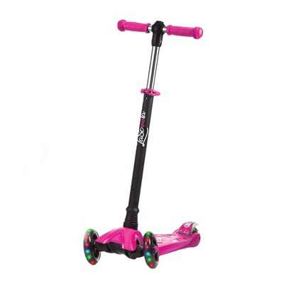 LaScoota Toddler Girl and Boy Kids Adjustable Kick Scooter with Light Up Wheels and Removable Seat (Pink)