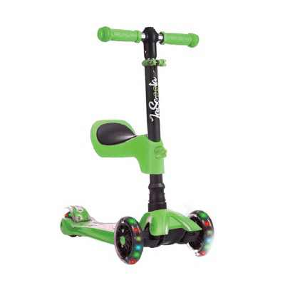 LaScoota Toddler Girl and Boy Kids Adjustable Kick Scooter with Light Up Wheels and Removable Seat, (Green)
