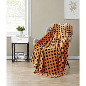 Kate Aurora Living Halloween Spooky Polka Dots Orange & Black Ultra Soft & Plush Throw Blankets