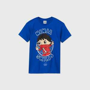 Boys' Ryan's World 'Ninja Skills' Short Sleeve Graphic T-Shirt - Blue