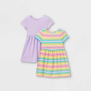 Toddler Girls' 2pk Rainbow Striped Dress - Cat & Jack
