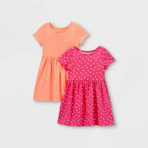 Toddler Girls' 2pk Heart Dot Dress - Cat & Jack Coral/Pink