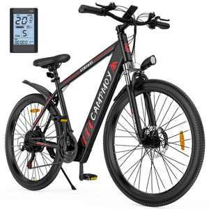 Campmoy Electric Mountain Bike, LCD Display, 36V Lithium Battery,350W Motor, 21- Speed Transmission, 5 Levels Electric/Pedal Assist Modes, 331LBS, Great for Commuting, Free Bike Lock