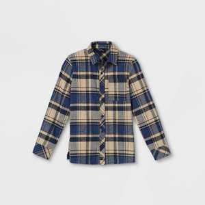 Boys' Plaid Woven Long Sleeve Button-Down Shirt - art class Cream/Navy