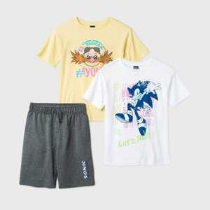 Boys' Sonic 3pc Jogger Shorts Set - Gray/White/Yellow