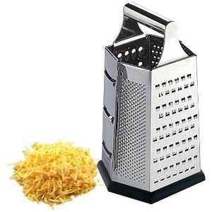 Home Basics Heavy Weight 6 Sided Stainless Steel Cheese Grater with Non-Skid Rubber Base, Black