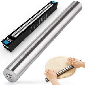 Zulay Kitchen Professional French Rolling Pin for Baking (16 inch), Top-Grade Stainless Steel, Light Weight, Easy to Roll Design
