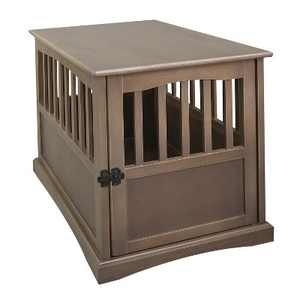 Casual Home Medium Wooden Indoor Pet Crate Dog House Kennel End Table Night Stand Furniture, Taupe Gray