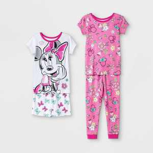 Toddler Girls' 4pc Minnie Mouse Snug Fit Pajama Set - Pink