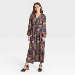 Women's Floral Print Bishop Long Sleeve Dress - Knox Rose