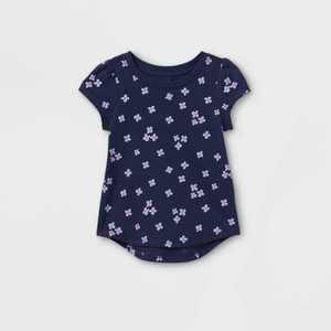 Toddler Girls' Floral Short Sleeve T-Shirt - Cat & Jack Navy