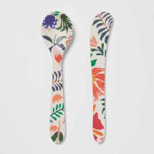 2pc Bamboo Melamine Floral Spoon and Spreader Set - Opalhouse™