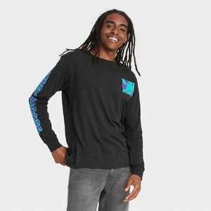 Men's Disney Mickey Kanji Long Sleeve Graphic T-Shirt - Black