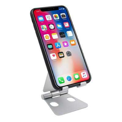 Insten Cell Phone Stand for Desk, Aluminum Foldable Holder, Adjustable Ergonomic Mount For Smartphones iPhone iPad Tablet Nintendo Switch, Silver