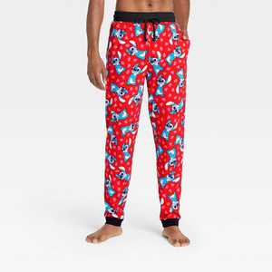 Men's Lilo & Stitch Hearts Pajama Pants - Red
