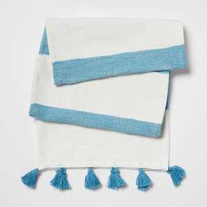 "72"" x 14"" Cotton Preppy Striped Table Runner Blue/White - Opalhouse™"