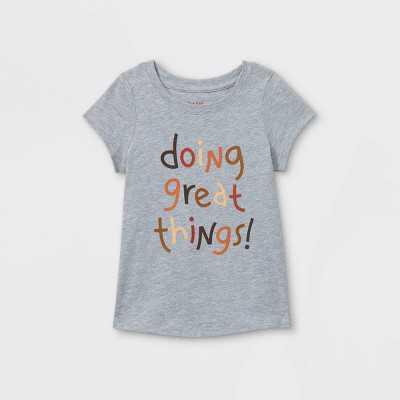 Toddler Girls' 'Doing Great Things' Short Sleeve T-Shirt - Cat & Jack Light Gray