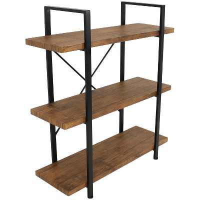 Sunnydaze 3 Shelf Industrial Style Freestanding Etagere Bookshelf with Wood Veneer Shelves - Teak Veneer