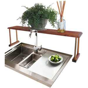 Home Basics Space-Saving Pine Wood Over the Sink Multi-Use Shelf