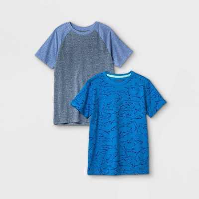 Boys' 2pk Short Sleeve Shark Print T-Shirt - Cat & Jack Blue