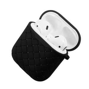 Insten Weave Shape Case For AirPods 1 & 2, Soft TPU Skin Cover with Carabiner, Black